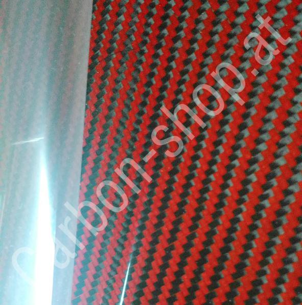 echt carbon design furnier folie red black 3k gewebe
